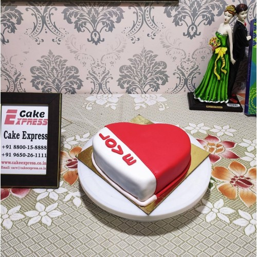 Red & White Love Fondant Cake Delivery in Ghaziabad