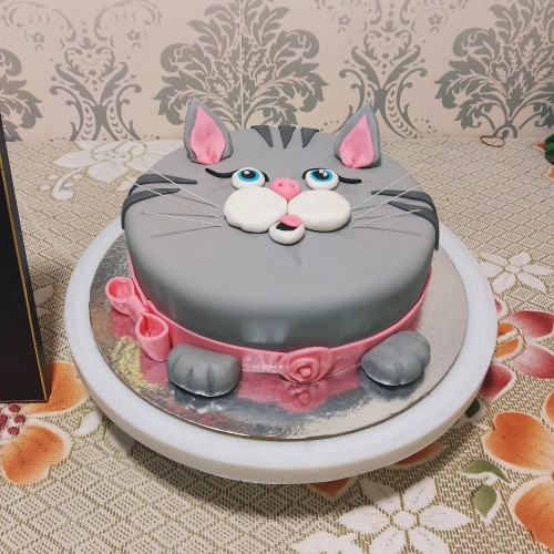 Pussy Cat Face Fondant Cake Delivery in Ghaziabad