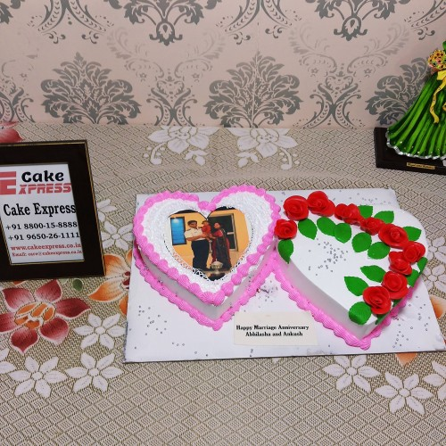 Double Heart Photo Cake Delivery in Ghaziabad